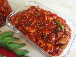 Fermented squid side dish (Ojingeojeot ...
