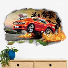 Vivid 3d Chevrolet Racing Car Wall Stickers For Boys Bedroom Decoration Kids Room Wall Mural Art Diy Home Decals Pvc Posters Wall Stickers Aliexpress