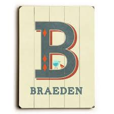 Personalized Alphabet Letter B Wood Sign By Artist Rebecca Peragine Etriggerz Com