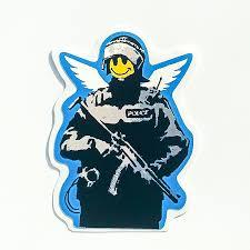 Banksy Sticker Smiley Face Riot Police Vinyl Decal Street Art Graffiti Cop Car