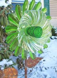 glass plate flower garden art yard art
