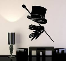 Vinyl Wall Decal Magician Illusionist Top Hat Gentleman Cane Stickers 1432ig Ebay