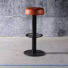 bar stool with natural steel finish and