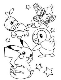 Print Kleurplaat Chimchar Turtwig Piplup Pikachu Pokemon Coloring