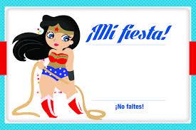 Invitacion Mujer Maravilla Para Imprimir Imprimible Tarjetas
