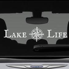 Amazon Com Lake Life Decal Bumper Sticker With Compass Rose 12 In X 3 In Fits Cars Trucks Suvs Boats Motorcycles And More Premium Vinyl Die Cut Graphics Made In