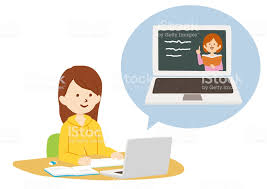 Vector Illustration Of Online Class Using Video Call Stock ...