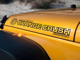 Product Pair Jeep Decal Orange Crush Wrangler Hood Decal Rubicon Sahara Jk Cj Tj Yj