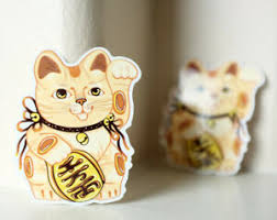 Gold Wealth Fortune Lucky Good Luck Beckoning Cat 3x2 Decal Sticker 4985 Ebay