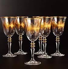 gold rimmed wine drinking glasses