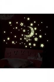 Shiny Kids Bedrooms Decor Moon Stars Sticker Wall Decal White Pink Queen