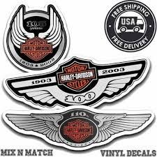 Harley Davidson 100th 105th 110th Anniversary Helmet Tank Sticker Decals New Ebay