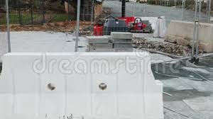 Road Closed Ahead Under Construction With Road Roller Fence Barriers And Concrete Tile Pallets Street Construction Stock Footage Video Of Fence Lane 155365662