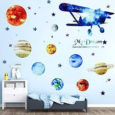 Amazon Com Senbos Space Plane Wall Stickers Watercolor Solar System Wall Decals Space Airplane Stickers Peel Stick Vinyl Planet Wall Sticker For Kids Nursery Bedroom Living Room Decoration Kitchen Dining