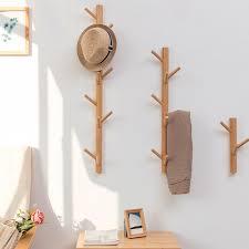 bamboo wood wall hanger hook coat stand