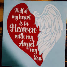 Beautiful Red Heart With Wings 2 Color Vinyl Decal For Your Son In Heaven Wingsdecal Memorial Memorial Tattoo Quotes In Loving Memory Tattoos Tattoo For Son