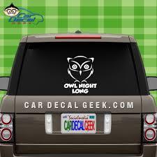 Owl Night Long Car Window Vinyl Decal Sticker Bird Decals