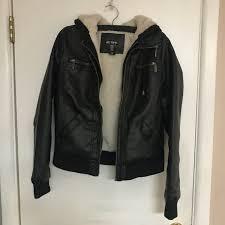 cute warm leather jacket size s
