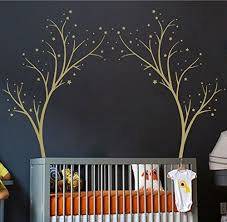 Large Star Tree Vinyl Decal Decor Wall Sticker For Baby Nursery Or Kids Room Home Design Transfer Gold 60x74 Inches Baby B013fj0yqc