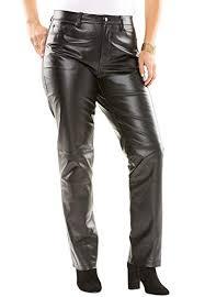 plus size straight leg leather pants