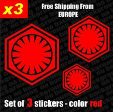 Set Of 3 Star Wars First Order Logo Vinyl Decal Sticker Aufkleber Car Laptop Ebay