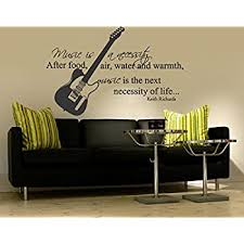 Amazon Com Creativewalldecals Wall Decal Vinyl Sticker Decals Art Decor Design Guitar Electro Music Sign Music Is Necessity Band Rock Star Mans Gift Bedroom Dorm R752 Home Kitchen