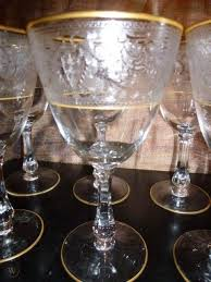 vintage gold rimmed etched wine glasses