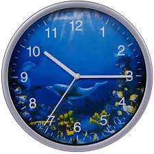 Amazon Com Keygift Wall Clock Silver 8 Inches Silent Non Ticking Quartz Ocean Theme Wall Decor With Dolphins Battery Operated Round Clock For Kids Room Living Room Office Kitchen Classroom Easy To Read Home Kitchen