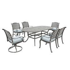 gray metal 7 piece outdoor patio dining