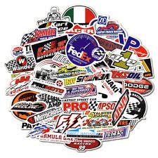 50pcs Auto Car Parts Nhra Drag Racing Lot Vinyl Graphics Stickers Decals Sheet Stickers Decals
