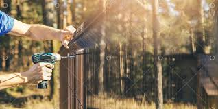 Fencing Worker Installing Metal Wire Mesh Fence Panel Image Stock By Pixlr