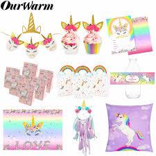 Ourwarm Unicornio Fiesta Favorece A Los Ninos Cumpleanos Caja De