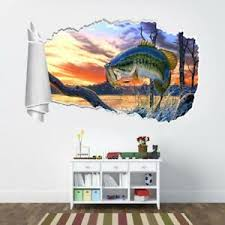 Large Mouth Bass 3d Torn Hole Ripped Wall Sticker Decal Art Fish Animals Wt311 Ebay