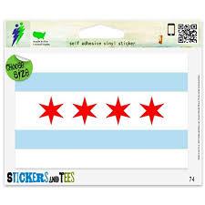 Amazon Com Chicago Flag Sticker Illinois Vinyl Car Bumper Window Sticker 3 X 2 Automotive