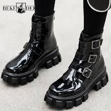 street platform ankle boots women high