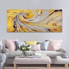 Modern Yellow Spiral Swirl Abstract Canvas Wall Art Print Canvas ...