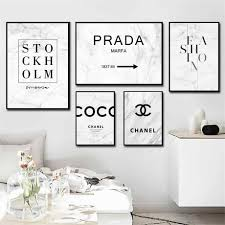 Marble Fashion Prada Brand Quotes Wall Art Canvas Painting Posters And Prints Black White Wall Pictures For Living Room Decor Painting Calligraphy Aliexpress