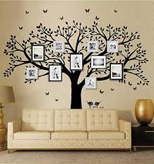Amazon Com Lskoo Family Photo Frame Tree Wall Decals Family Tree Decal Living Room Home Decor 108 Wide X 84 Tall Black Home Kitchen