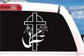 Automobilia Decals Stickers Easter Lily With Cross Decal Religious Car Truck Window Vinyl Sticker Transportation Automobilia Zsco Iq