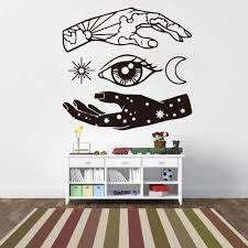 Space Hand Wall Sticker Bedroom Living Room Eye Hand Moon Star Sky Cloud Wall Decal Sofa Kids Room Home Decor Wall Stickers Aliexpress