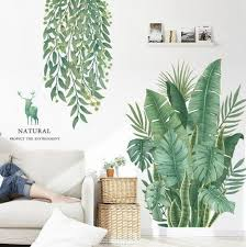 Fresh Green Banana Leaf Living Room Home Decor Hanging Leaves Vines Garden Decals Natural Greenery Plants Wall Stickers Deer House Mural Thefuns On Artfire
