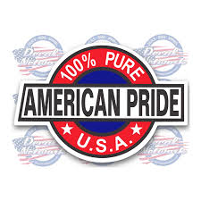 Patriotic Decals Sticker 100 Percent American Pride Vinyl Decal