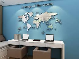 Amazon Com Kinbedy Acrylic 3d Wall Stickers Silver World Map Wall Decal Easy To Install Apply Diy Decor Sticker Home Art Decor Silver Kitchen Dining