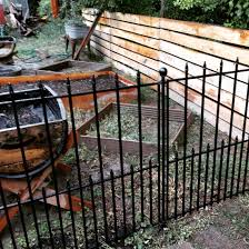 No Dig Fence From Lowes So Easy And Looks Great Wrought Iron Fence Panels Wrought Iron Fences Aluminum Fence