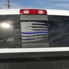 Dodge Ram Back Window Thin Blue Line Distressed American Flag Decal 2009 2018 Ebay