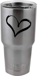 Amazon Com Heart Love Peace Vinyl Sticker Decal For Yeti Mug Cup Thermos Pint Glass 4 Wide Decal Only No Cup Automotive
