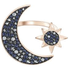 moon ring size 7 55 blue rose gold tone