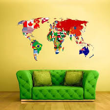 Amazon Com Stickersforlife Full Color Wall Decal Mural Sticker Decor Art World Map Banners Flag Countries Paintings Col347 Home Kitchen