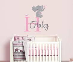 Elephant Custom Name Personalized Initial Wall Decal Sticker For Nursery Girl S Room Or Pl Elephant Themed Nursery Baby Girl Elephant Trendy Baby Shower Ideas