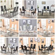 glass table black leather dining room